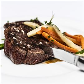 Ribeye steak with root vegetables